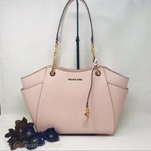 MICHAEL KORS JET SET LARGE CHAIN TOTE PINK BLUSH